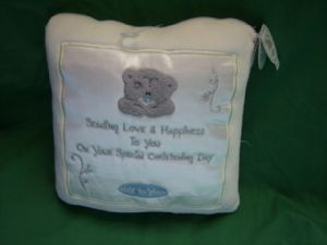 Me To You Tatty Teddy Christening cushion..white and silver